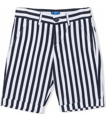 fay navy blue cotton-linen blend shorts