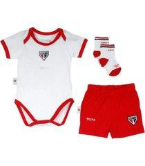 kit body manga curta reve d'or sport short e meia são paulo branca e vermelha