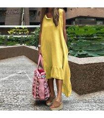 zanzea verano de las mujeres de bohemia de la playa vestido casual de las señoras tamaño suelta los vestidos plus -amarillo