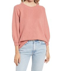 madewell telluride pullover sweater, size small in rose dust at nordstrom
