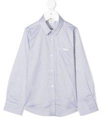 boss kidswear micro motif shirt - white
