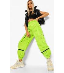neon soft-shell cargo broek, neon-green