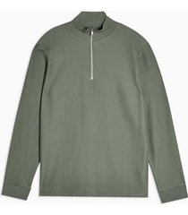 mens green twill 1/4 zip sweatshirt