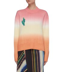 cactus embroidered hand dyed ombre knit sweater