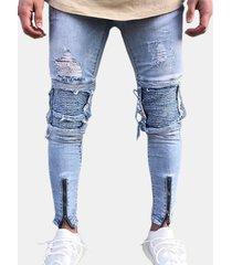 cerniera per motociclista azzurra con cerniera pieghevole per uomo jeans