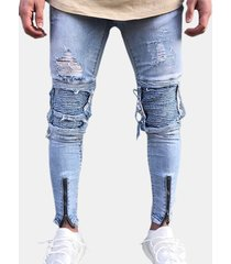 light blue biker cerniera fold zipper ripped jeans per uomo