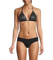 norma kamali women's matsui studded bikini top - black - size xs