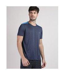 camiseta masculina ace com recorte manga curta gola careca azul marinho