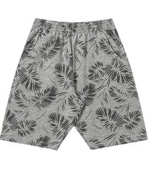 shorts infantil moletinho fakini folhagens masculino