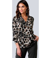 blouse alba moda antraciet::roze
