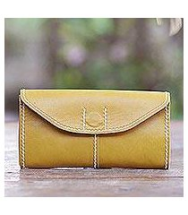leather wallet, 'stride in mustard' (indonesia)