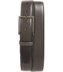 men's nordstrom men's shop marco burnished leather belt, size 44 - grey alloy