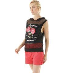 regata em tule com rosas e capuz transparente - preto - feminino - dafiti