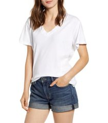 women's current/elliott the perfect v-neck tee, size 1 (fits like 2-4 us) - white