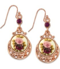 2028 rose gold tone purple crystal flower drop earrings