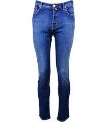jacob cohen 5-pocket luxury stretch denim jeans trousers with buttons and stitching in contrasting color, pony skin with embossed logo writing