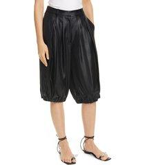 women's tibi celia pleated high waist satin bloomer shorts
