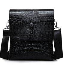 uomo business retro pu alligator grain nero marrone a tracolla messenger a tracolla borsa valigetta