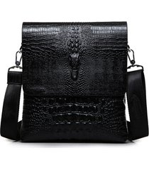 uomo business retro pu alligator grain nero marrone a tracolla messenger a tracolla borsa valigetta