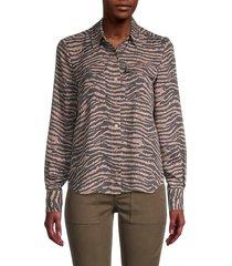 joie women's animal-print shirt - ginger - size xxs