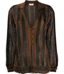 fendi striped sheer cardigan - black