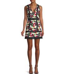 floral lace-trim mini dress