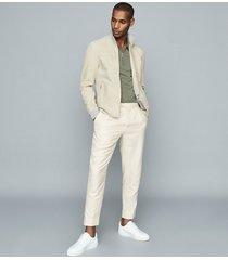 reiss perez - rib-trim suede jacket in stone, mens, size xxl
