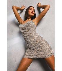 premium versierde mini jurk met waterval hals, gold