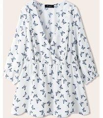 camicetta casual con stampa a farfalla con scollo a v profondo plus per donna