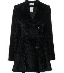 alaïa pre-owned textured ruffled coat - black