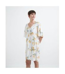 camisola manga curta em viscose estampa floral | lov | branco | m