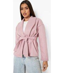 nepwollen wikkel jas met ceintuur, dusky pink