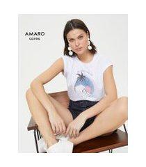 amaro feminino t-shirt sem manga ampla plastic free, branco