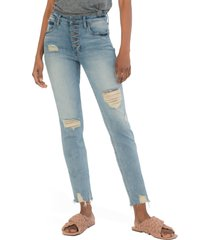women's kut from the kloth rachael fab ab exposed button raw hem mom jeans, size 8 - blue