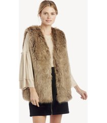 women's faux fur vest light brown one size acrylic polyester from sole society