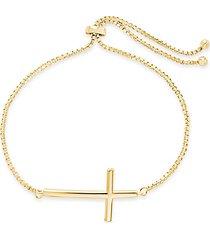 14k goldplate bolo cross bracelet