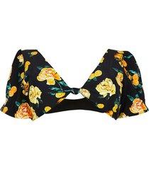 river island womens plus black floral knot puff sleeve bikini top