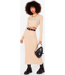 womens knit's a perfect match crop top and skirt set - oatmeal