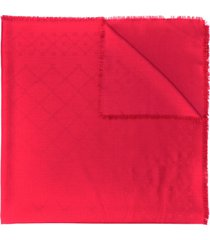 bally frayed logo scarf - red