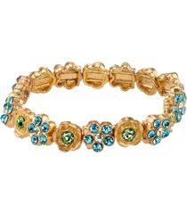 2028 gold-tone blue and green flower stretch bracelet