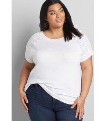 lane bryant women's eyelet pullover sweater 26/28 white