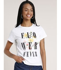 "blusa feminina ""flower fever"" manga curta decote redondo off white"