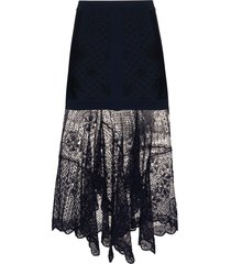 alexander mcqueen floral lace layered midi skirt - blue