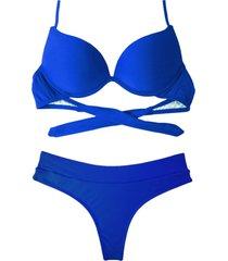 biquíni bojo bolha alça estreita divance calcinha fio dental cós duplo azul bic