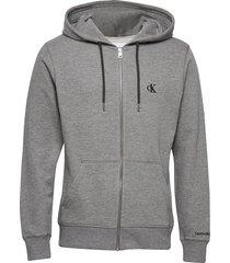 ck essential reg zip through hoodie trui grijs calvin klein jeans