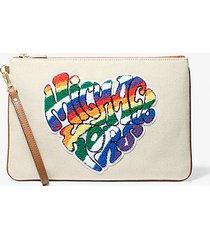 mk pochette con zip pride grande in tela con logo e cuore - naturale/ghianda (naturale) - michael kors