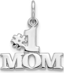 1 mom charm in 14k white gold