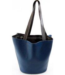 bolsa sacola em material sintético maria adna azul
