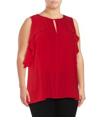 plus front-keyhole sleeveless top