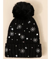 snowflake rhinestone knitted plush bubble beanie